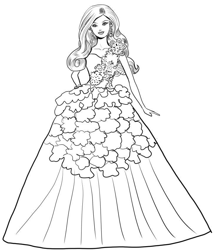 Disegno di barbie magia delle feste con abito bianco da for Disegni da colorare barbie