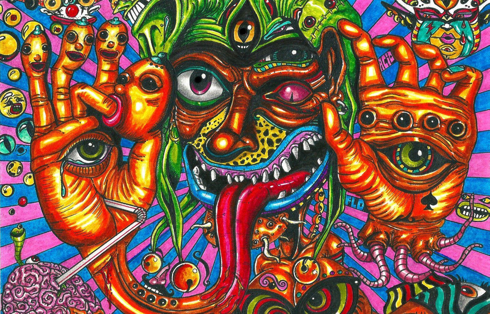 4.95 GBP - Framed Print - Psychedelic Lsd Acid Trip Hallucinations