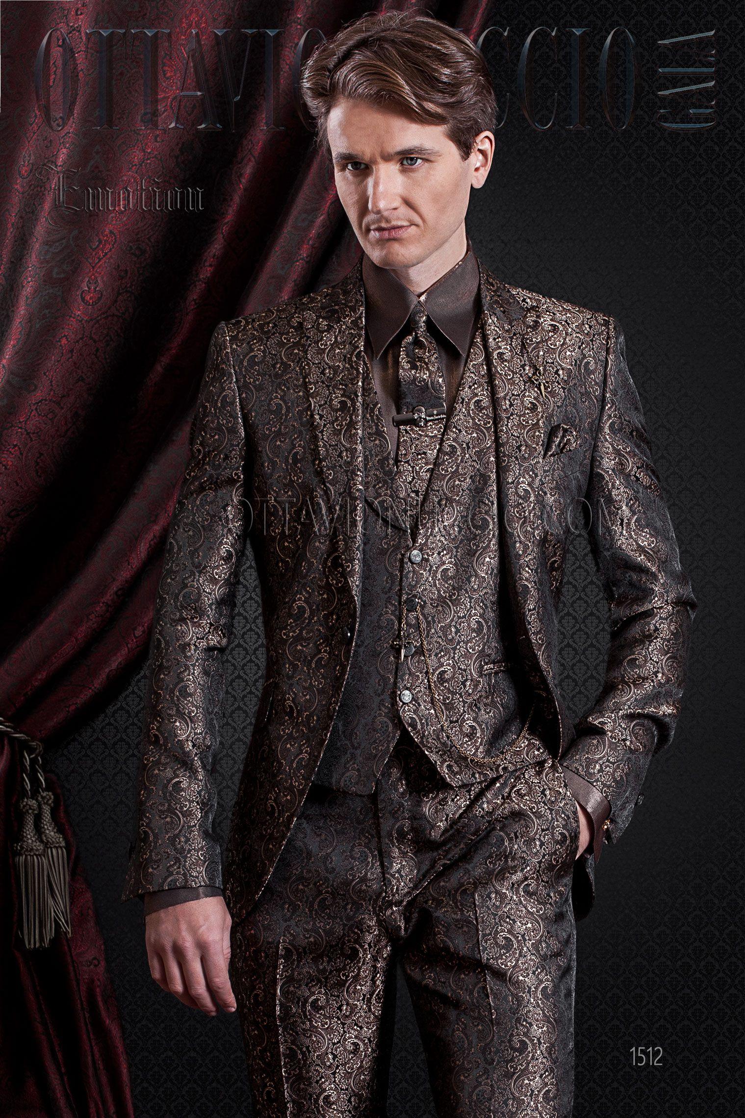 Abito cerimonia uomo damascato marrone con gilet a tono  groom  tuxedo   italian  wedding eae68edcaba