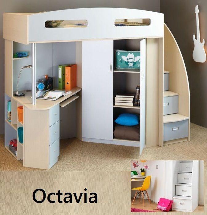 Best Octavia Single Cabin Bunk Bed Loft Desk Bookcase Cupboard 400 x 300