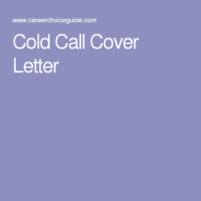cold call cover letter - Cold Call Cover Letter