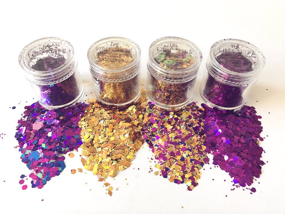 THE PERFECT CHRISTMAS GIFT FOR 2016!  4 OF OUR BEST SELLING GLITTERS!  MIDNIGHT CHUNKY GLITTER GOLD GLITTER MIX FORTUNE GLILLER MIX PURPLE GLITTER  MIX  All our glitters are cosmetic and environmentally friendly!  We have a YouTube channel with how we stick our glitter!! >  https://www.youtube.com/watch?v=gat1VHi1HrE CHECK IT OUT!  Our glitter is perfect for the face, body and hair!  If you need some inspo please visit our instagram @thegypsyshrine and  please tag us in your pictures we love…