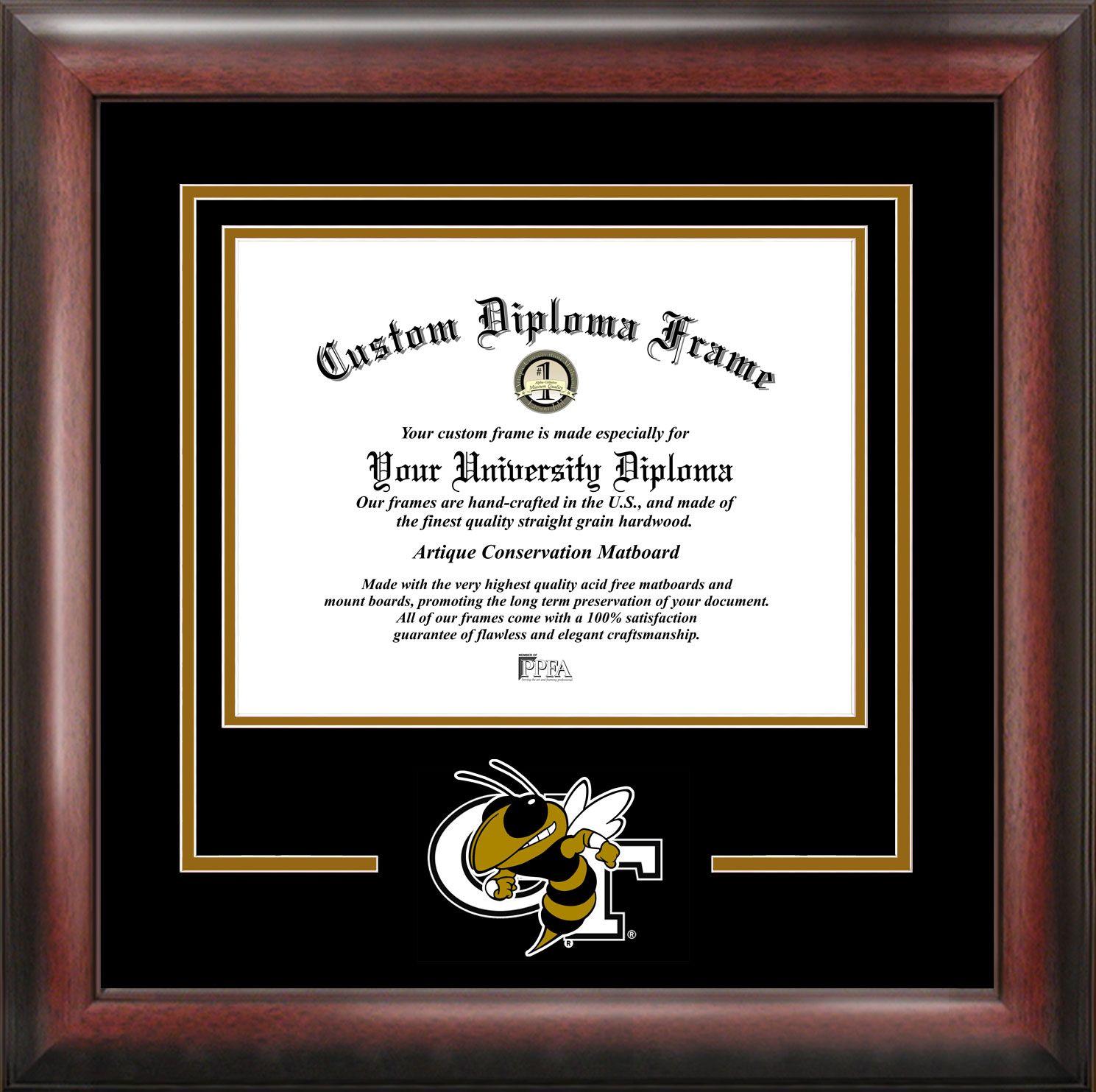 Georgia Tech Spirit Diploma Frame. Diploma opening in elegant cherry ...