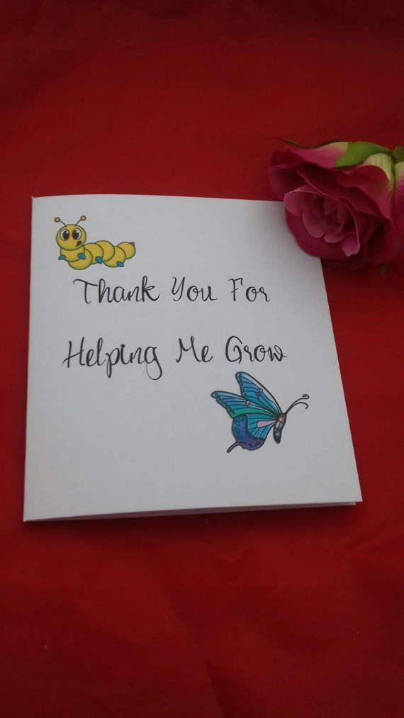 thank you for helping me grow teacher card end of term