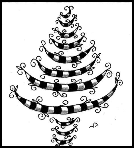 Christmas Tree doodling - would maybe do it in green and white or red and white