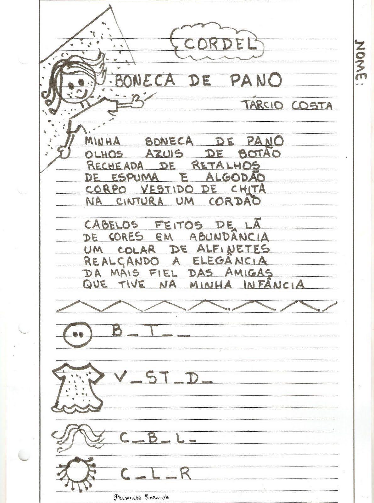 Atividades Para O Ensino Infantil Literatura De Cordel Cordel