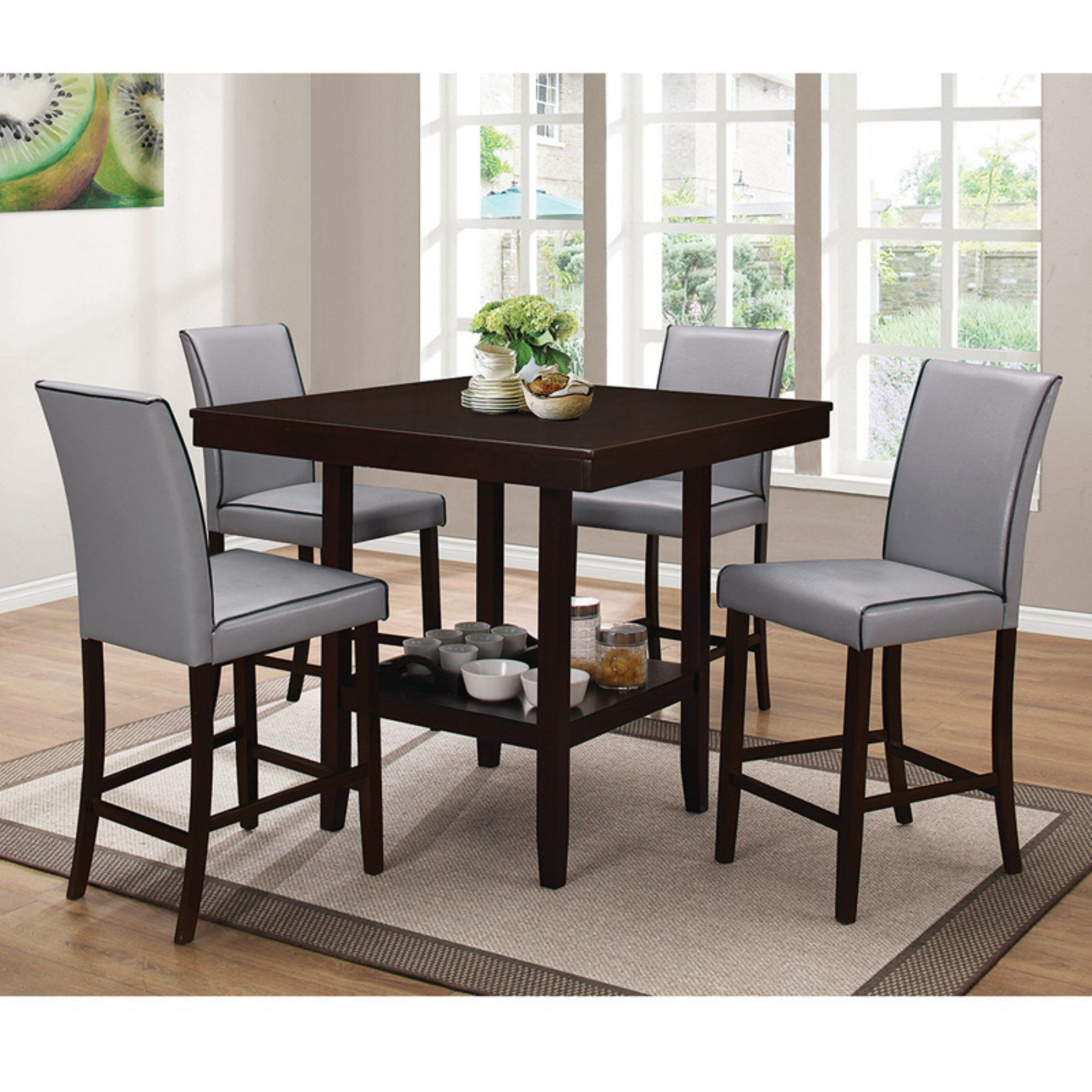 Home Source Industries Grigio Counter Height Dining Table H 6030 T Square Dining Tables Dining Table With Storage Faux Marble Dining Table