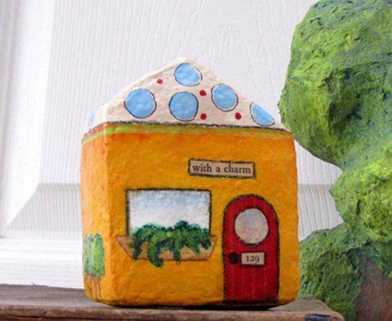 Art Sculpture Paper Mache Chubby Little House