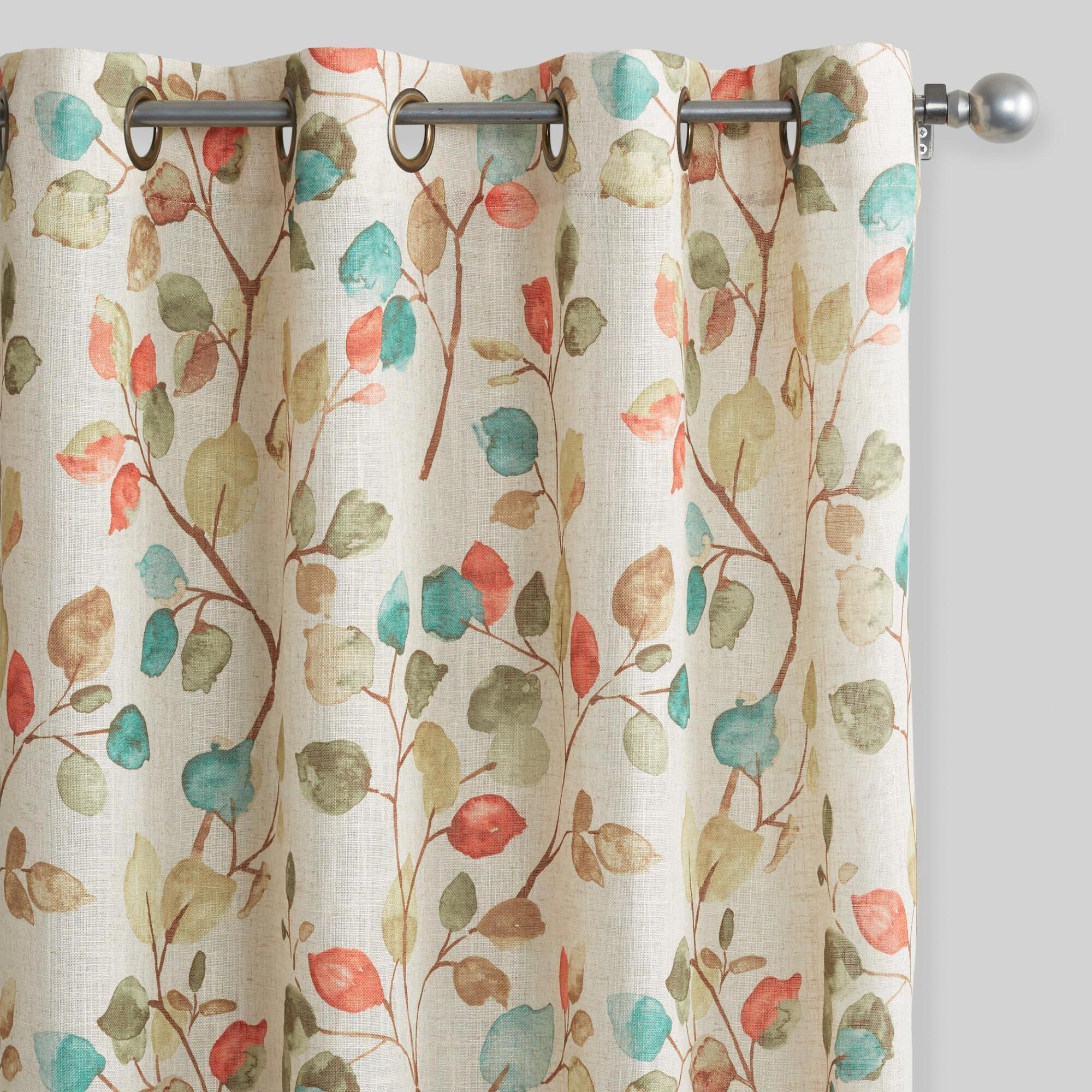 Autumn Leaves Openweave Grommet Top Curtains: Multi