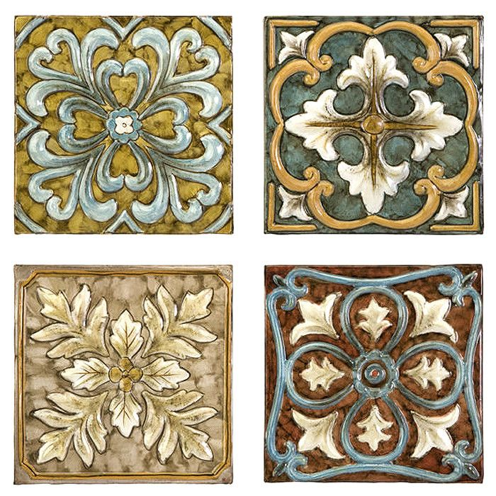 Decorative Tiles For Wall Art 4 Piece Casa Tile Set  For The Home  Pinterest