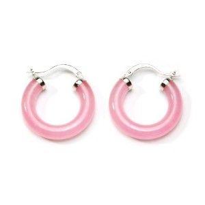 Chinese Pink Jade Sterling Silver Hoop Earrings 1 0 Diameter