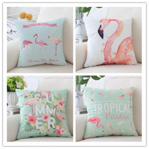 Large Flamingo Pillow For Couch Velvet Pant Leaves And Flower Sofa Cushions