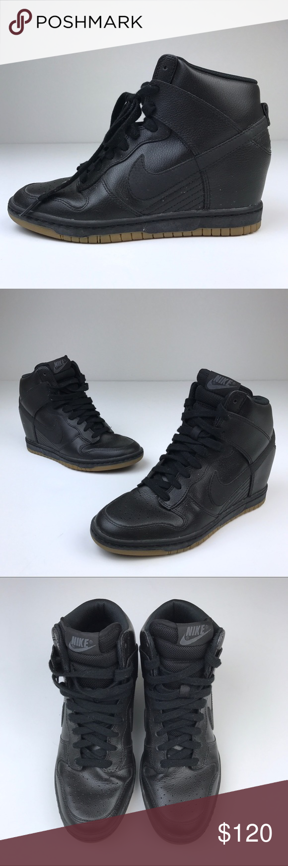 a278ab05d345 Nike Dunk Sky Hi Wedge Sneaker in Black Leather Nike Dunk Sky Hi Wedge  Sneaker in Black Leather with gum color soles. In great condition.
