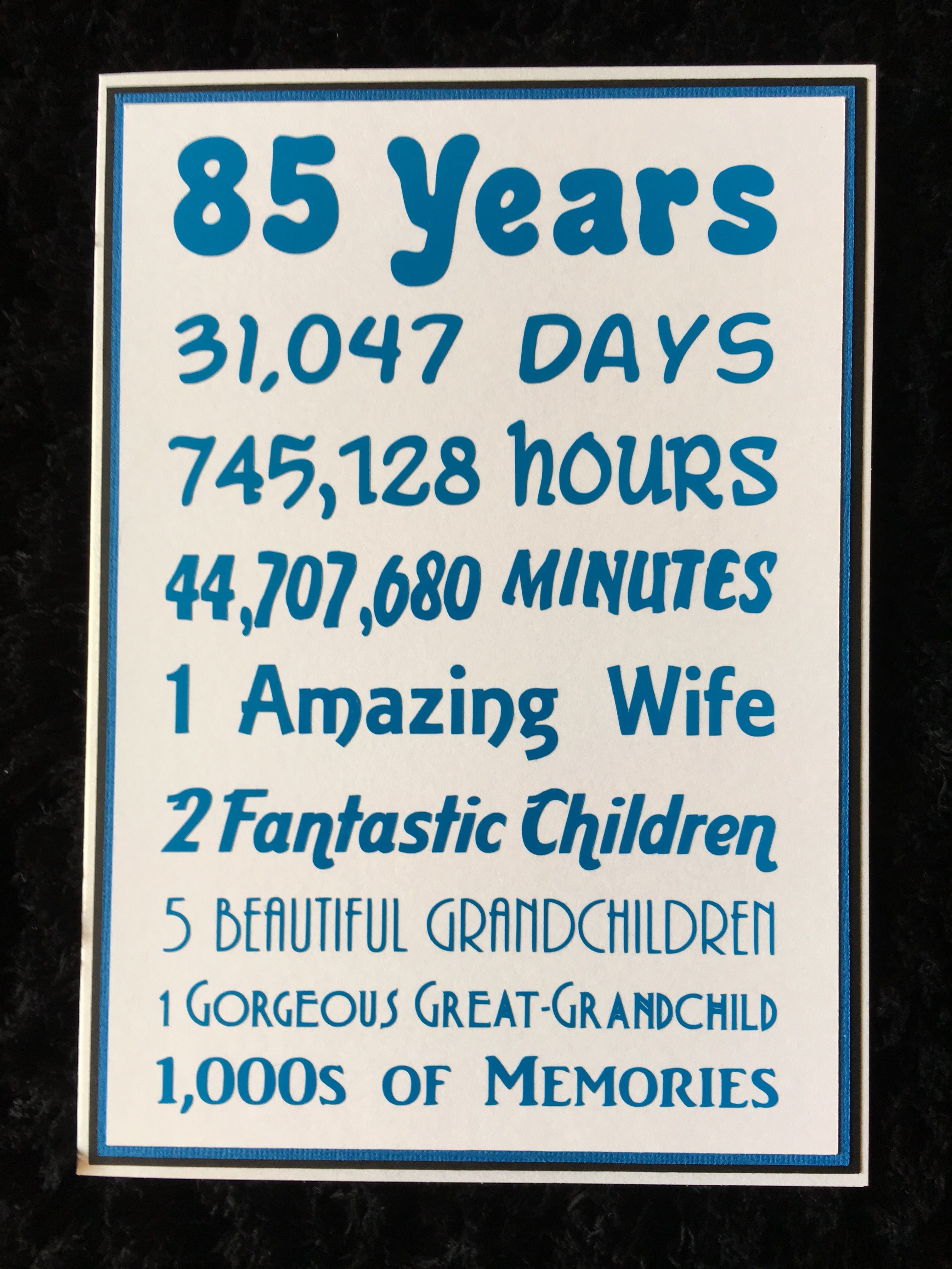 Personalized 85th Birthday Chalkboard Poster Design by JJsDesignz – 85th Birthday Cards