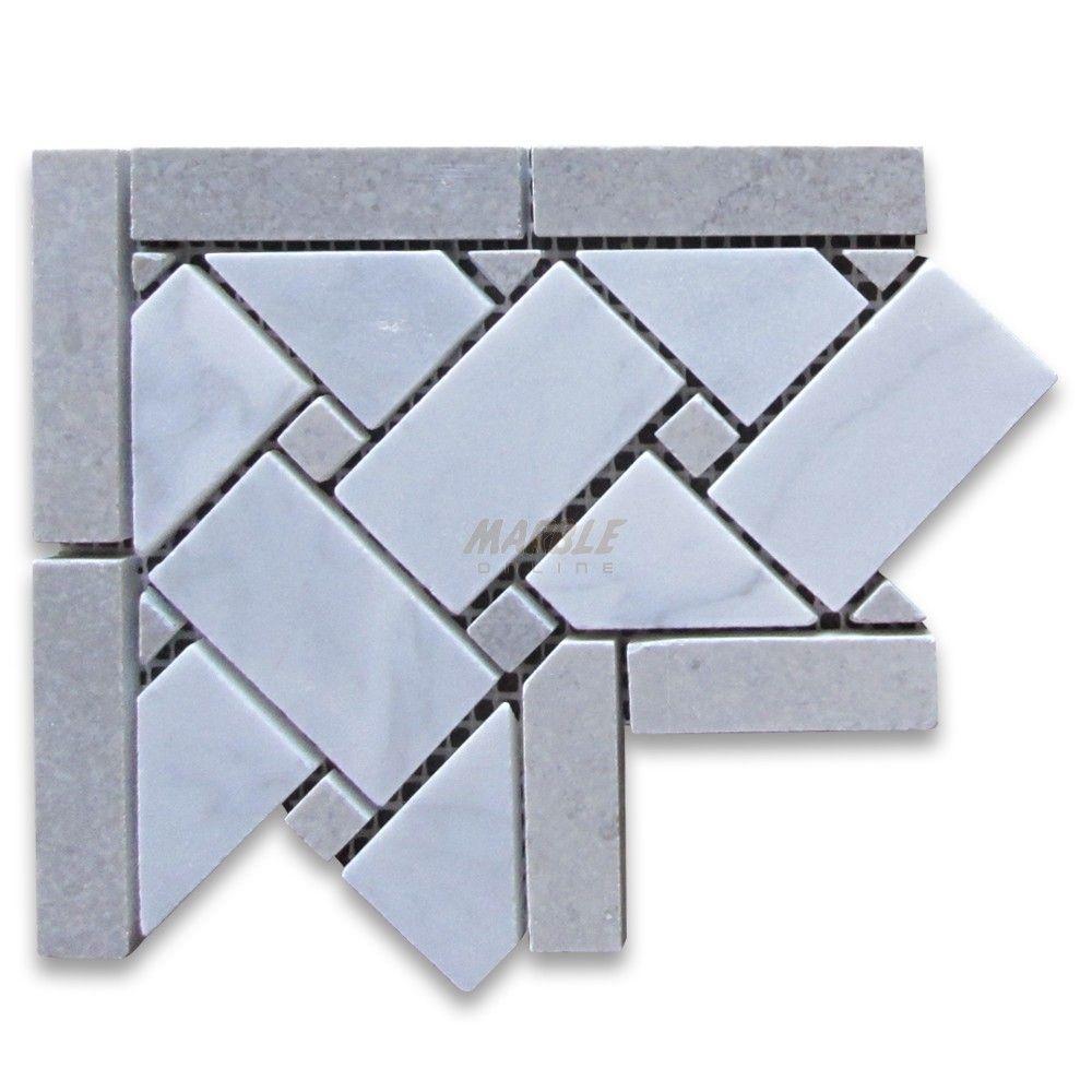Carrara White 4x4 Basketweave Mosaic Corner w/ Gray Dots Honed ...