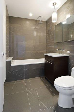 contemporary full bathroom with janeiro slate tile