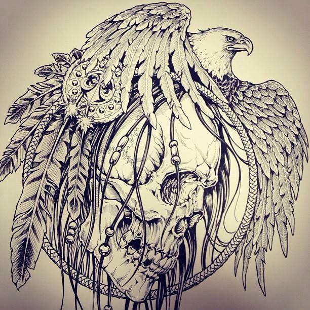 Skull Eagle Dream Catcher Dream Catcher Tattoo Eagle Tattoo Sketch Tattoo Design
