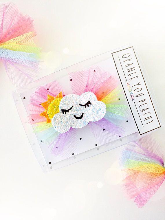 Rainbow Sunshine Tulle Hair Bow Rainbow Hair Clip Rainbow