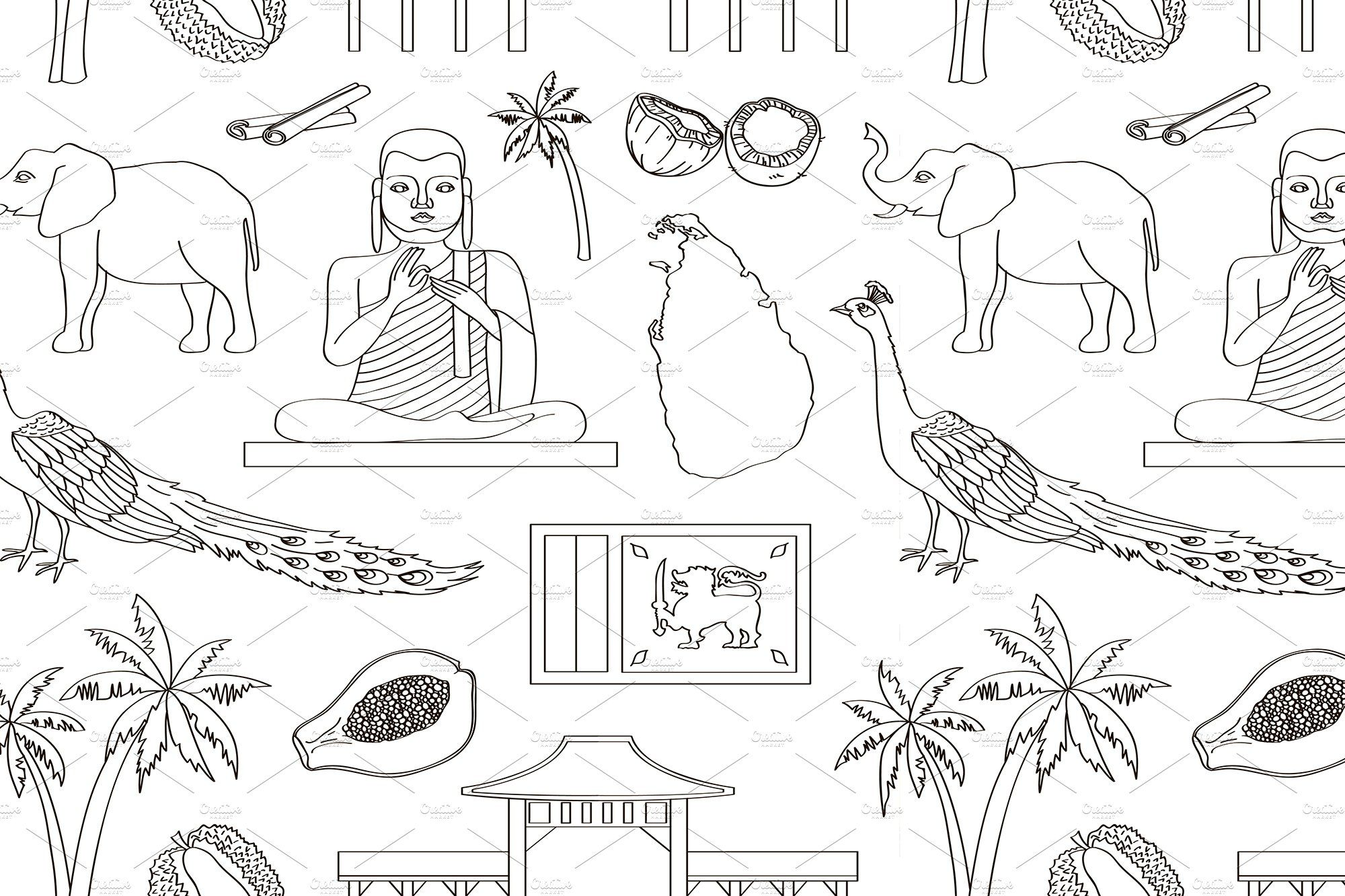 Symbols Of Sri Lanka Icons Pattern Graphic Patterns