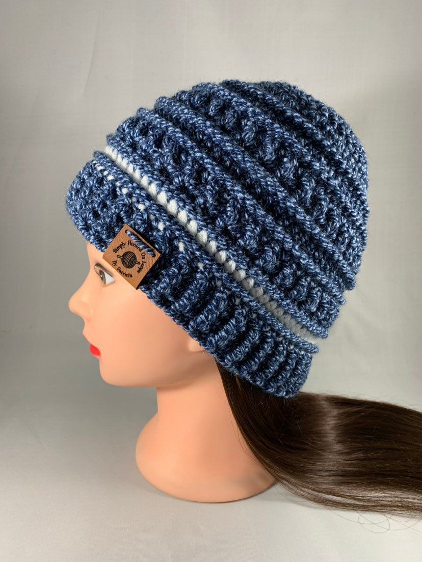 cb8db85bd81 Crochet Blue Marled and White Women s Men s Textured Hat Beanie Cap  Handmade Gift Boutique Fashion by