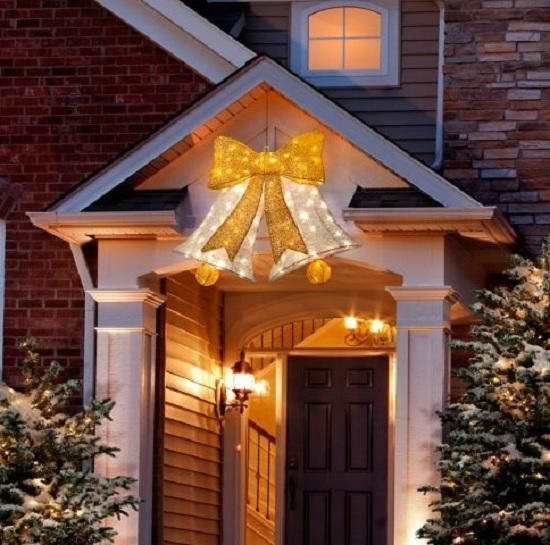 Lighted Pre Lit HANGING CHRISTMAS BELL Outdoor Holiday Yard Decor - outside christmas decorations sale