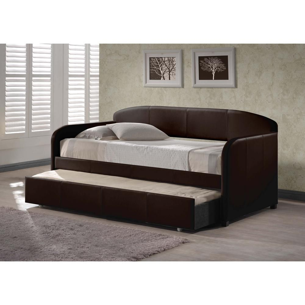 Daybed with trundle full size hillsdale furniture springfield brown trundle day bed  products