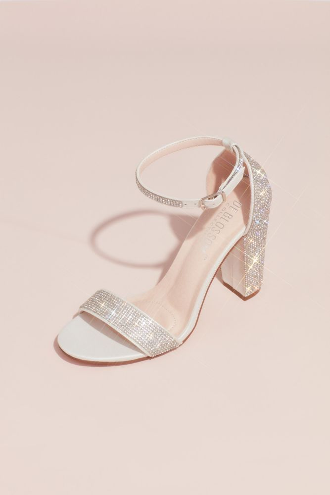 Crystal Block Heel Sandals with Shimmering Accents Style