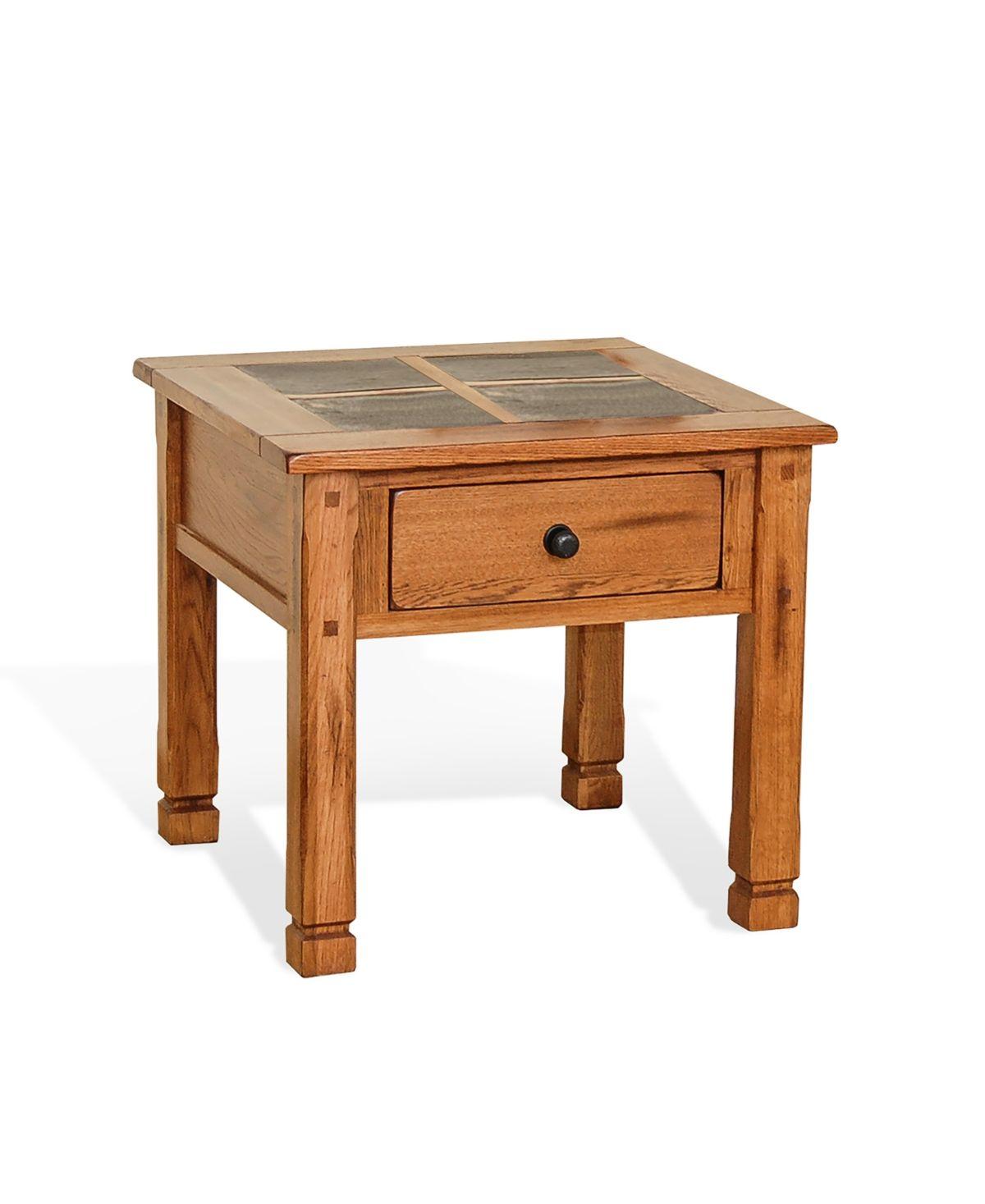 Sedona 24 H Rustic Oak End Table Slate Top Brown Mattress