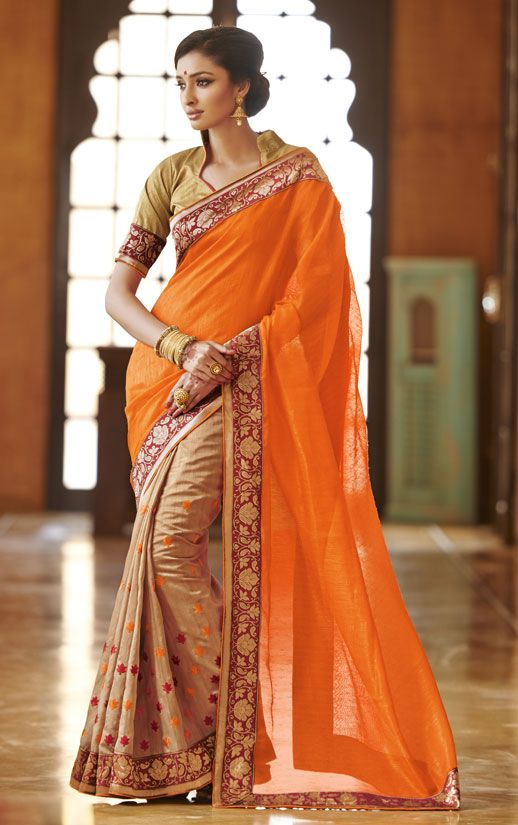 a328371252 Brilliant Beige and Glowing Orange Saree | 1 - Classic Fashion from ...