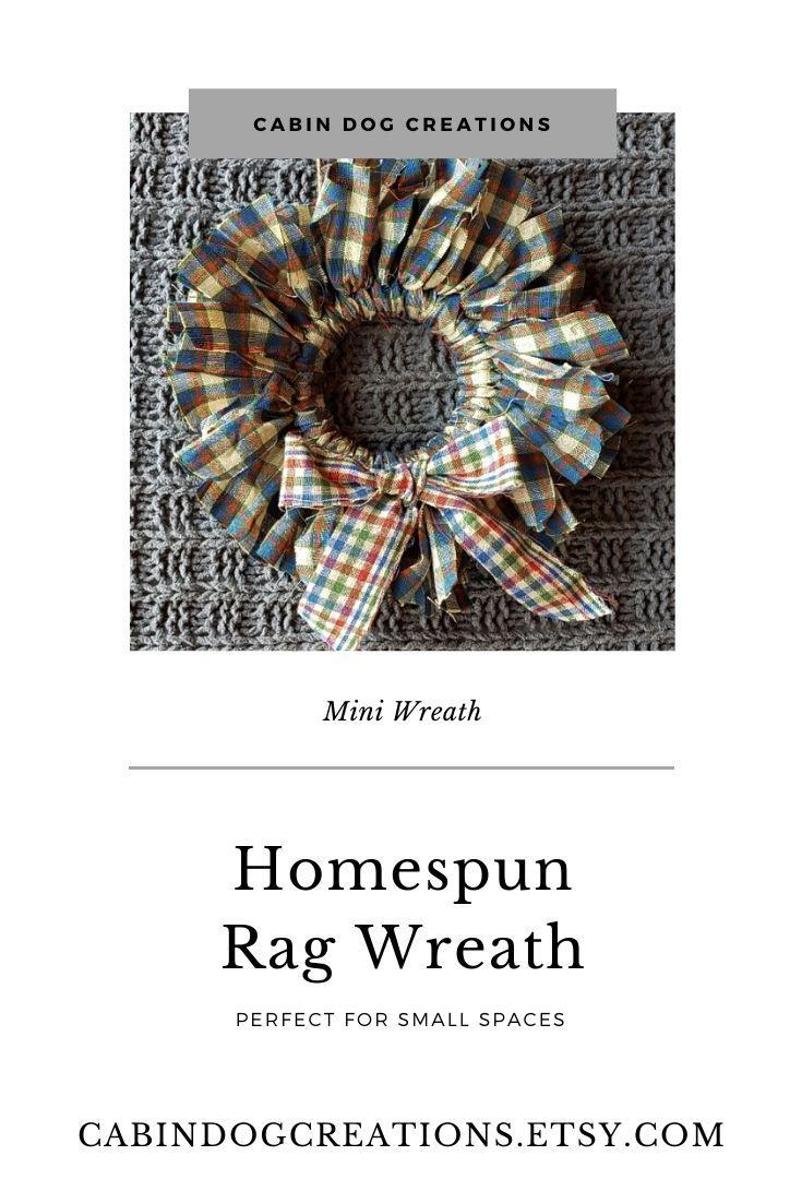 Photo of Mini Wreath Blue, Red and Green Plaid Homespun Fabric