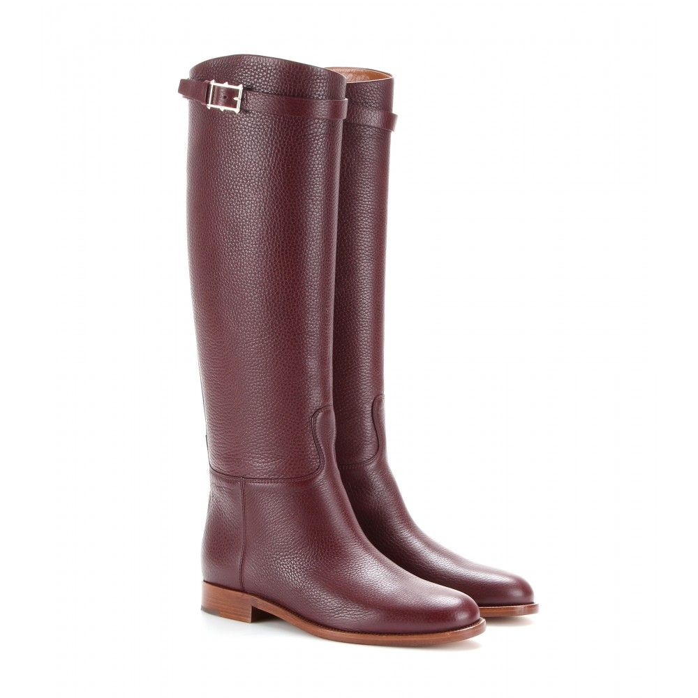 mytheresa - bottes cavalières en cuir - plates - bottes