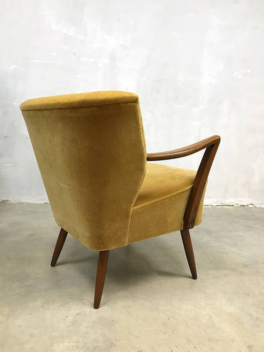 Retro Cocktailsessel Vintage Cocktail Stoel Chair Gold Velvet Clubfauteuil Oker Velour