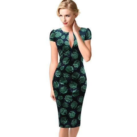 0b2fc2a5b5e Vfemage Womens Sexy Elegant Autumn Floral Flower Lace Vintage Tunic Slim  Casual Party Fitted Sheath Pencil Bodycon Dress 1040
