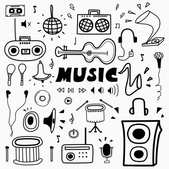 Hand Drawn Doodle Music Clipart, Music Clipart, Music Notes Clipart, Musical Clipart, Doodle Art, Vector Files, Digital Download Clipart