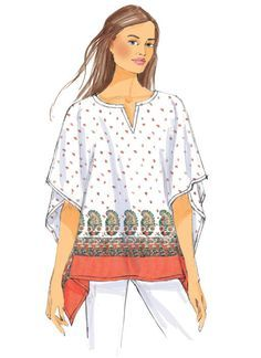 Kimono-style tops and tunics sewing pattern from Butterick. B6356 Misses' Fringe-Trim, Overlay or Notch-Neck Tunics