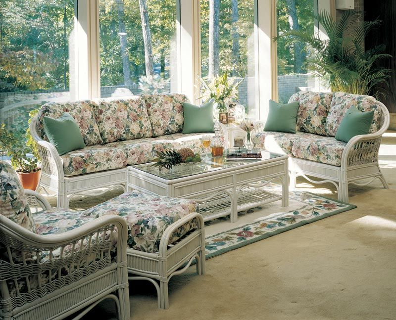 Bermuda Wicker Living Room Set And Sunroom Pieces By South Sea