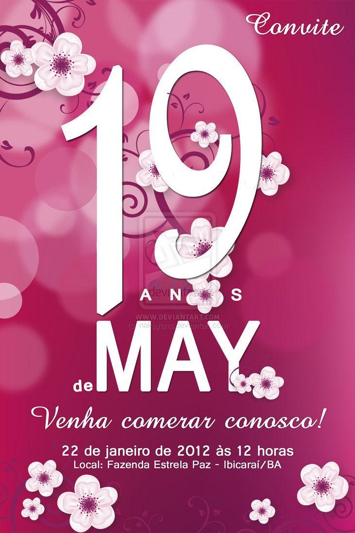 Convite De Aniversario De 19 Anos De May Com Imagens Convite