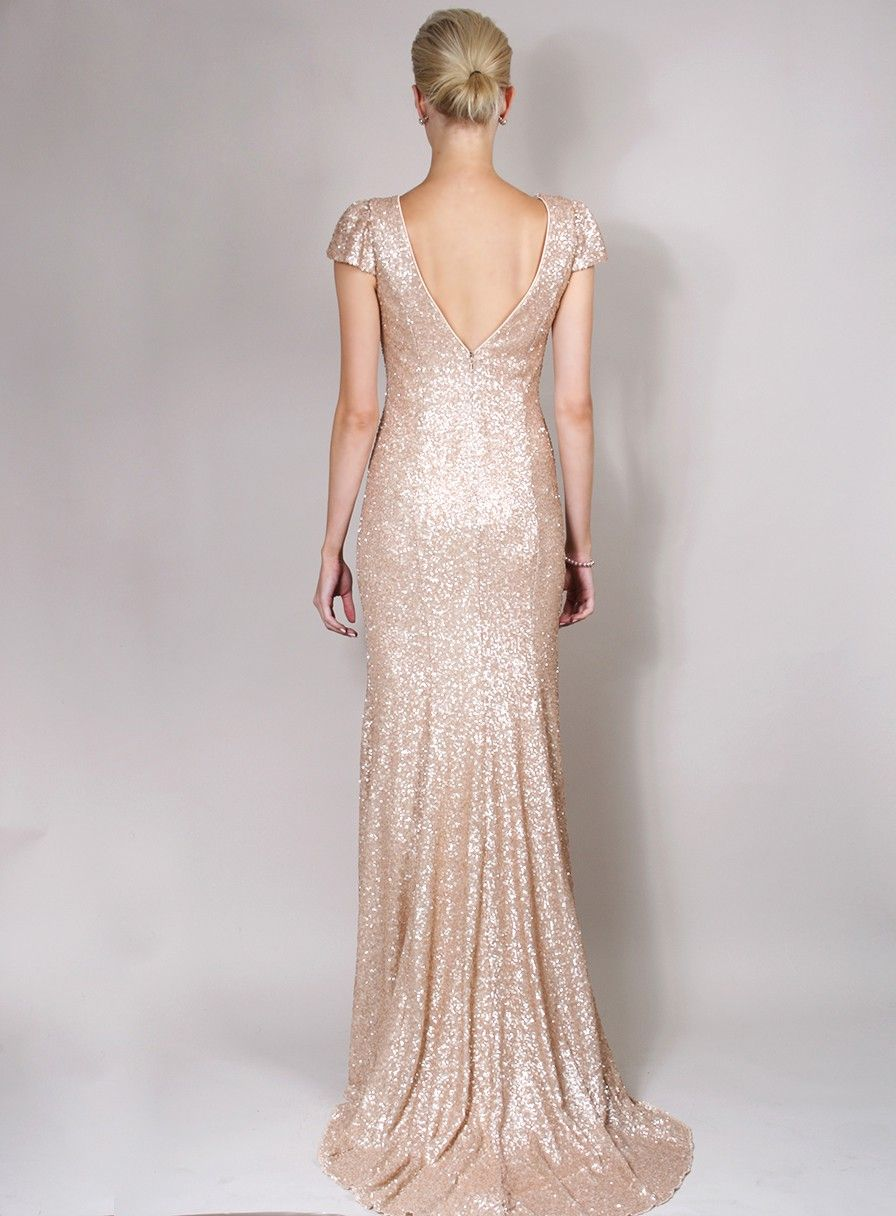 Dresses for a winter wedding reception  Sequinned Cap Sleeve Dress with Train  Deco  Pinterest  Winter