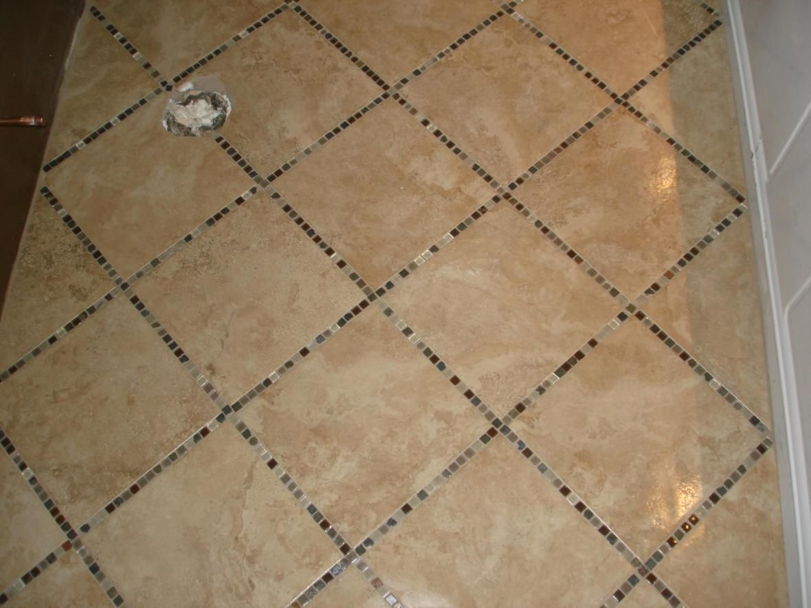 Porcelain tile floor with glass inlay kitchen reno pinterest love this bathroom floor clean bathroom porcelain tile floors interior design painted floor design black and white kitchen designed by c dailygadgetfo Gallery