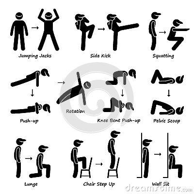 Body Workout Exercise Fitness Training (Set 1) Clipart