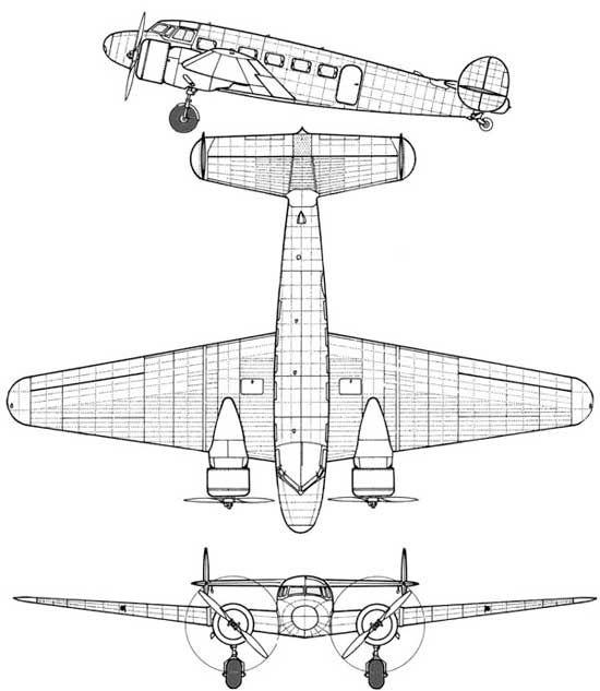 Lockheed 10e Special Electra Aircraft Aircraft 3 View