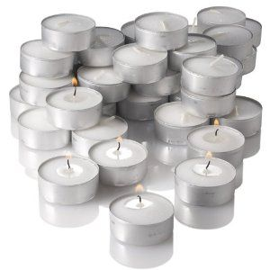 Tea lights ct. 125 for $9.99 to makes favor. I Love these as one can NEVER go wrong with candle light!