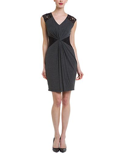 Laundry by Shelli Segal Dark Charcoal Lace Knot Dress