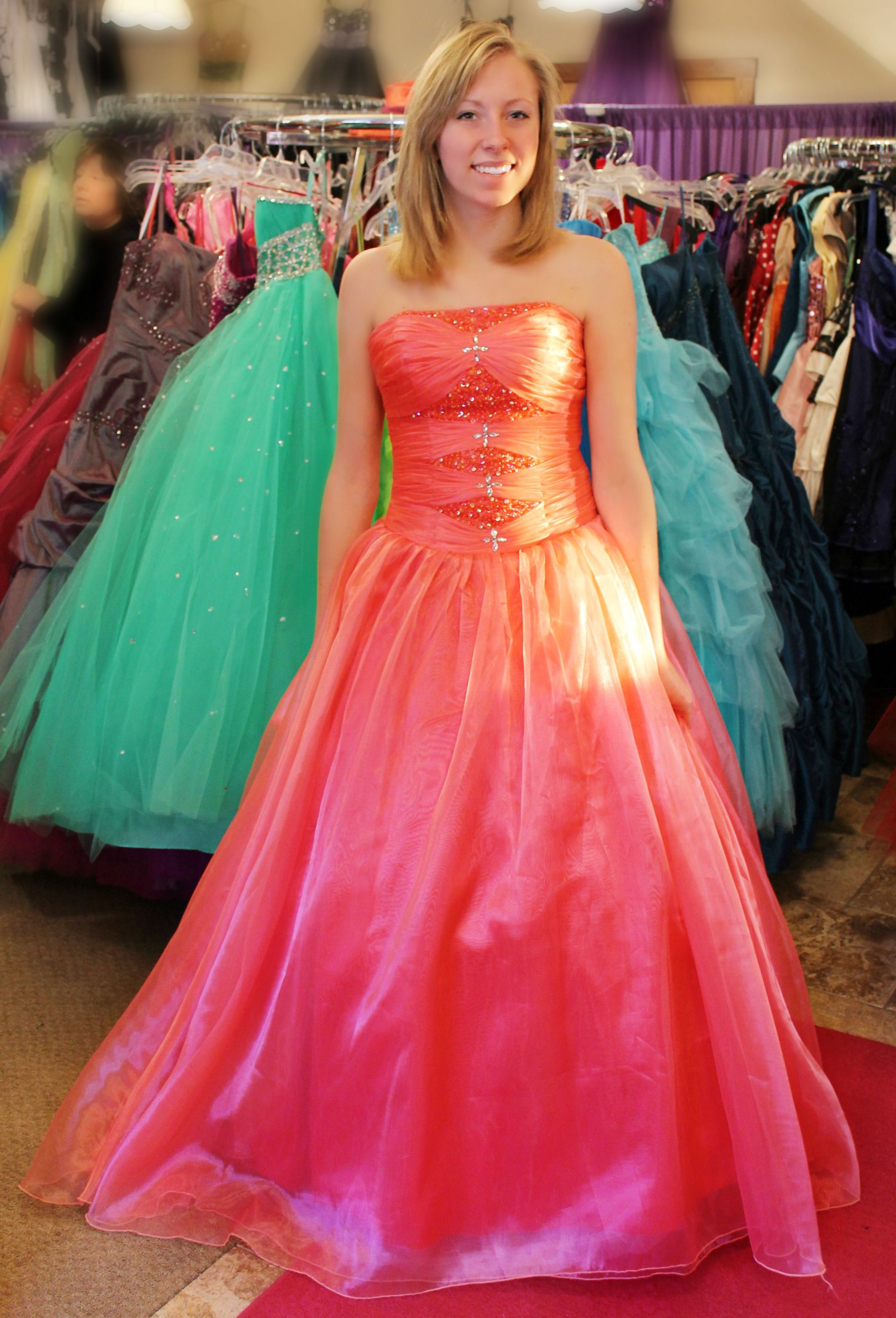 Pink formal prom dress Available for rent