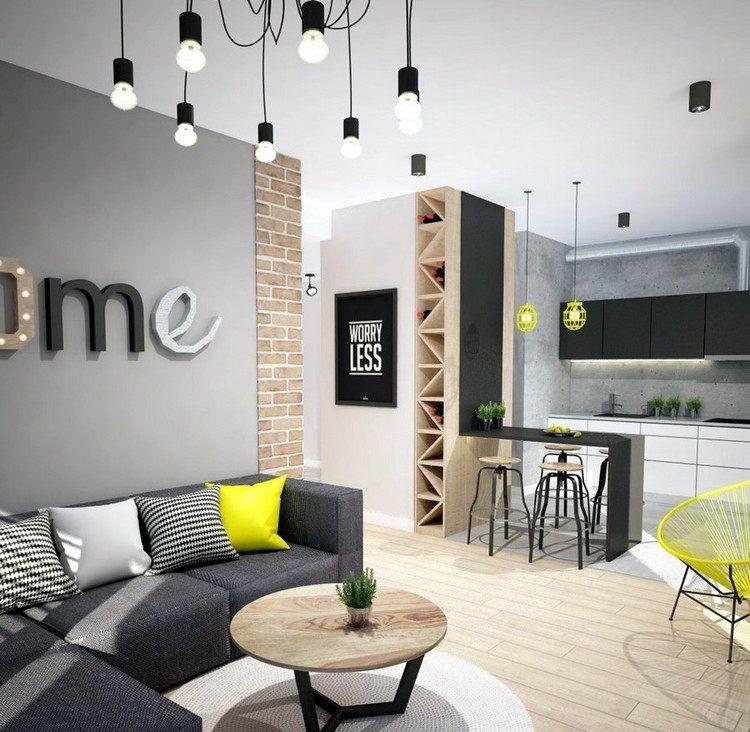 dunkelgraues Ecksofa, runder Couchtisch mit Holzplatte und gelbe - raumgestaltung wohnzimmer modern