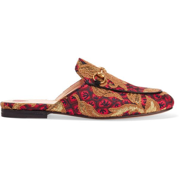 Gucci Princetown horsebit-detailed jacquard slippers ($545) ❤ liked on Polyvore featuring shoes, slippers, flats and gucci