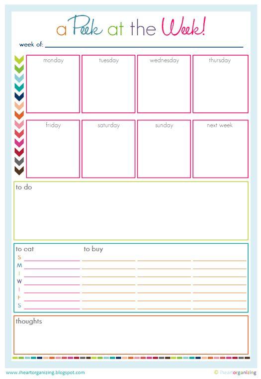 Free A Peek At The Week Printable Organization Printables Printable Planner Free Organization