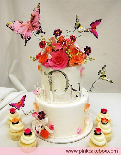 Garden Butterfly Wedding Cupcake Tower » Wedding Cakes   Wedding ...