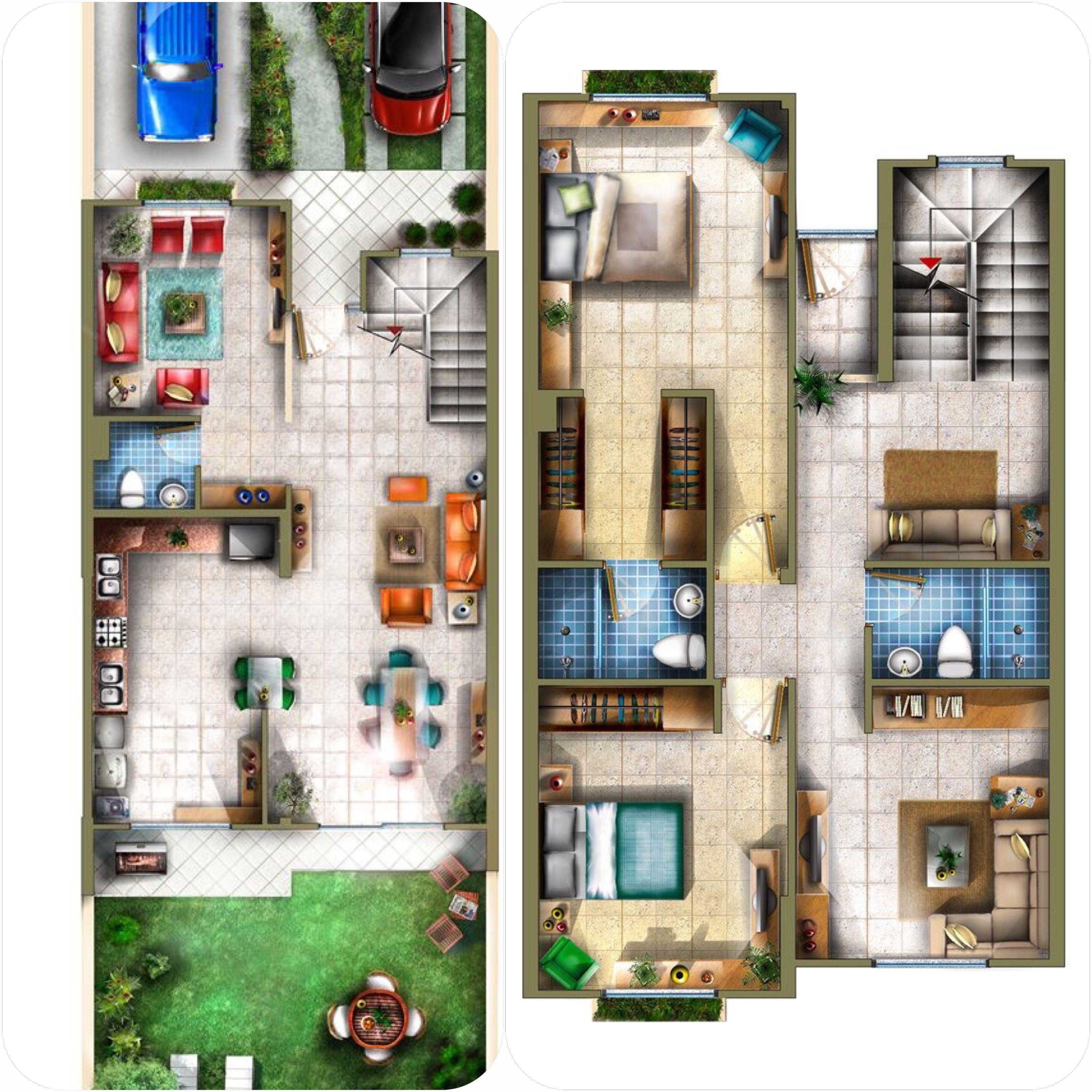 Plano 3 Casa De Tres Niveles Planos De Casas Diseno De Casa