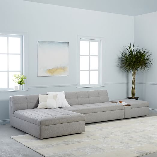 Plateau 3 Piece Sectional Armless Sofa Chaise Ottoman without